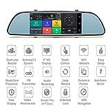 KAIFH Camara Coche Grabación Dual 3G Vista Posterior Reversible Control De Voz De Android Navegador GPS Del Coche Bluetooth Espejo Retrovisor Grabador De Conducción Bucle Sin Interrupción Detección