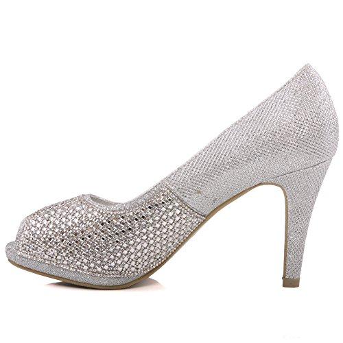 Unze Diva' Womens Diamante Ornata Corte nuziale Shoes UK Size 3-8 Argento