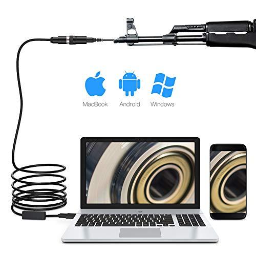 ROTEK Gewehr-Endoskop, 0,2-Zoll-Gewehrlauf-Inspektionskamera, USB-Endoskop zur Gewehrreinigung mit 6 LED-Leuchten, Jagdlauf-Endoskopkamera mit Halbsteifem Kabel für Windows Mac Android-Smartphones