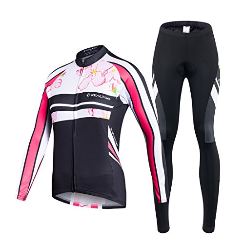 VIVOSUN Radtrikot Damen Set Fahrradbekleidung Frühling Herbst Fahrradtrikot Langarm und Radhose mit 3D Sitzpolster Rosa- Gr. S