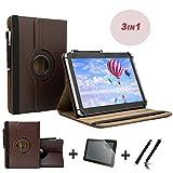 3er Starter Set für Blaupunkt Discovery A10.302 10,1 Tablet PC Tasche + Stylus Pen + Schutzfolie - 10.1 Zoll Braun 360˚ 3in1