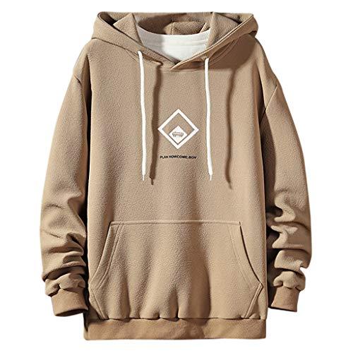 BHYDRY Der Neue Art-beiläufige Art- und Weisepatchwork-Hoodie-Lange Hülsen-Sweatshirt-Oberseiten der Männer(Medium,Khaki) - Art Herren Hoodie