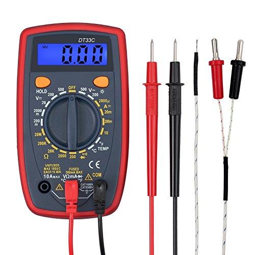 Multímetro Digital 1999 Portátil Polimetro con Cable de Prueba Mini Voltímetro Amperímetro Ohmímetro con Retroiluminación LCD para Prueba de Voltaje AC CC Eléctrica Resistencia Temperatura