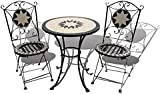 Garden Hut Mosaic Bistro Set - 1 x Table and 2 x Folding Wrought Iron Chairs
