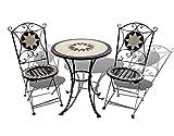 Garden Hut, Mosaik-Bistro-Set,1 Tisch und 2zusammenklappbare Stühle, aus Schmiedeeisen