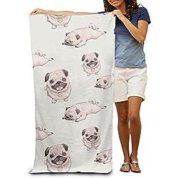 Jugando patrón de perro carlino toallas de playa para adultos