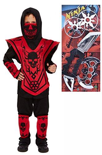 Ninja Kostüm Outfit mit Waffe Set (Kostüme Mit Waffen)