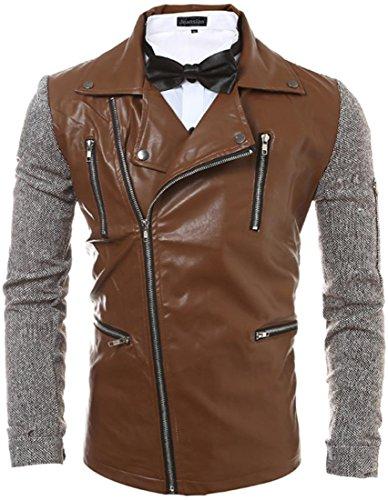 Jeansian Hommes Mode Cuir PU Blousons Manteaux Hiver Men's Fashion Leather Biker PU Zipper Motorcycle Jacket Coat Winter Tops 9566 Café