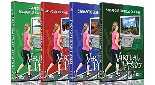 4 Disc Set Virtual Walks DVD Combo Pack - Singapore City Garden View - Scenic Route Videos for Teadmill Everyday Workouts - Girls Womens Natural