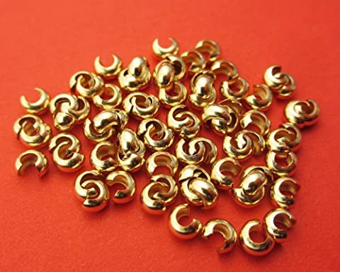 New 3 mm 14 Karat gold filled Crimp Abdeckung 25pcs