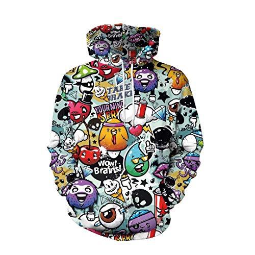 isex Hoodie 3D Druck Kapuzenpullover Weihnachtpullover Kapuzenpulli Langarm Bunte Sweatshirt Rundhals Kapuzensweatshirt für Damen und Herren ()