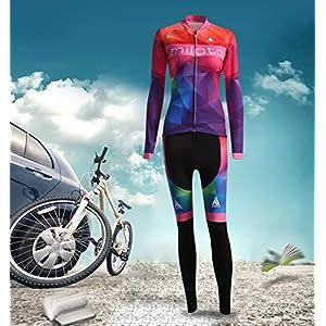 Miloto Maillot de Ciclismo de Mangas Largas con Culotes para Mujer, Sets Ropa Ciclismo con Mallas, Trajes de Ropa de Bicicleta Forro de Lana Térmico Cálido Transpirable (M)