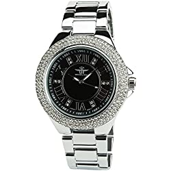 Women's Watch MICHAEL JOHN Black Quartz Steel Case Analogue Display Steel Band Silver