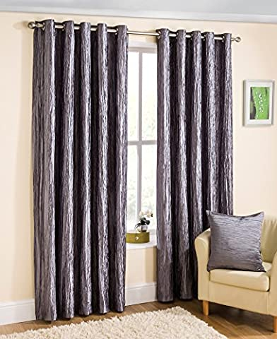 Silver Grey Luxury Textured Faux Silk Eyelet Ring Top Readymade Lined Curtains - 64