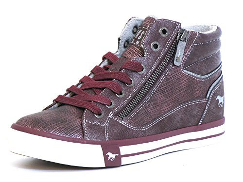 Mustang Damen High Top Sneaker Gefüttert Bordeaux, Schuhgröße:EUR 37 (High Top Sneaker Stiefel)