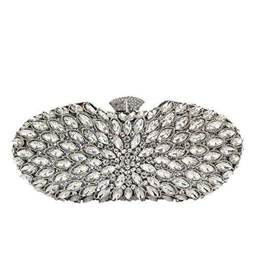 Damen Handgemachte Diamanten Abendtasche Pfau Kristall Mode Handtasche White