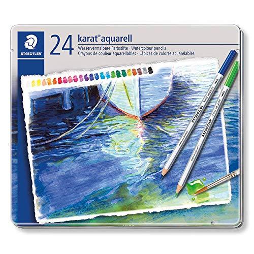 Staedtler karat aquarell matite colorate acquerellabili - scatola in metallo da 24