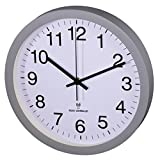 Hama Horloge Murale Radio-Pilotée Dcf Pg-300, Silencieuse, Gris
