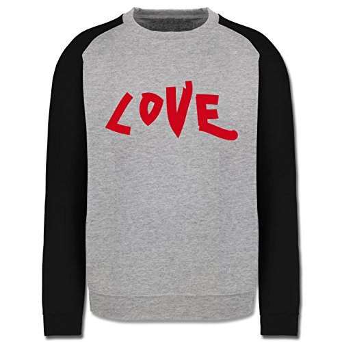 Romantisch - Love - Herren Baseball Pullover Grau Meliert/Schwarz