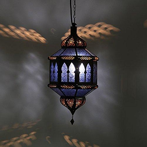 Orientalische Pendelleuchte Marokkanische Lampe | Echtes Kunsthandwerk aus Marokko wie aus 1001 Nacht | Hängelampe Leuchte Pendellampe Laterne | Hängeleuchte Trombia Biban Blau