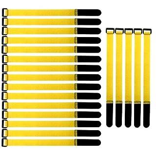 ARTGEAR Wiederverwendbare Klettkabelbinder, 20 pcs Befestigung Klett Kabelbinder, Klettverschluss Klettbänder mit Schnalle, Stark Kabelbinder mit Klettverschluss für Kabelmanagement (2×30cm, Gelb)