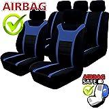 Akhan SB203 - Qualität Auto Sitzbezug Sitzbezüge Schonbezüge Schonbezug mit Seitenairbag Schwarz/Blau