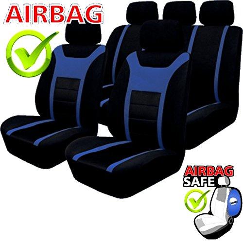 Preisvergleich Produktbild KMHSB203 - Sitzbezug Set Schwarz / Blau Sitzschoner Sitzkissen mit Seiten Airbag geeignet für SUZUKI Grand Vitra Swift Sport