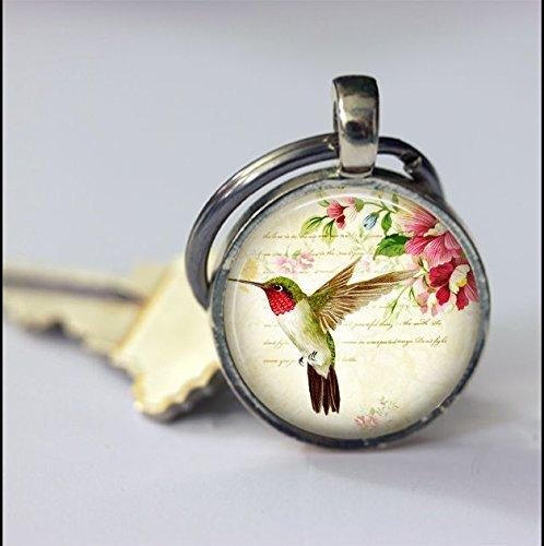 Schlüsselanhänger mit Hummingbird Tier-Schlüsselanhänger, Vintage-Kunst-Anhänger Schlüsselanhänger Schlüsselanhänger, handgefertigt, Vintage-Schmuck, Modeschmuck für Frauen und Männer