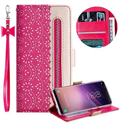 Reißverschluss Brieftasche für Samsung Galaxy S8,Gurt Wallet Handyhülle für Samsung Galaxy S8,Moiky Stilvoll Heiß Rosa Spitze Blume Malerei Klappbar Stand Leder Handytasche