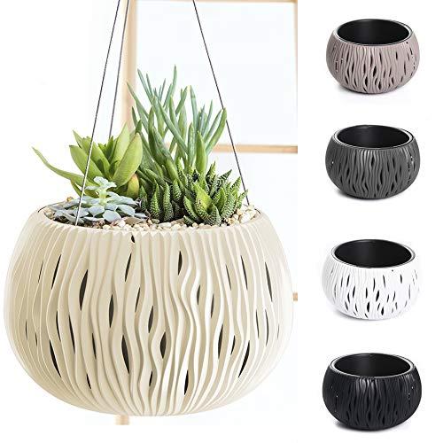 Blumentopf Pflanzentopf Balkontopf Hängetopf Aufhängen Welle-Design mit Einsatz wählbar (290+Aufhängung Creme)