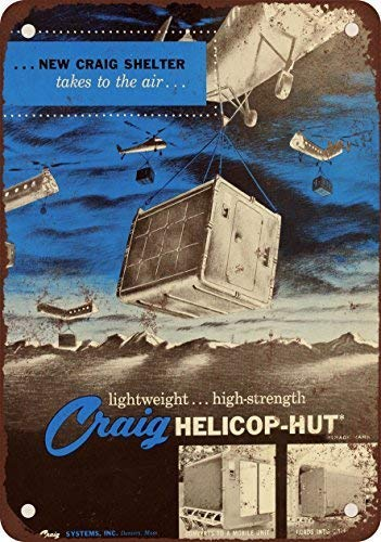 RGTG 1958 Cold War Portable Shelter Helicop-Hut Vintage Look Reproduction Metal Tin Sign 12X18 Inches