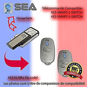 Compatible avec SEA 433-SMART-2 SWITCH, 433-SMART-3-SWITCH Telecommande de remplacement, Clone