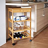 Relaxdays James Kitchen Cart Size: Large, Bamboo: 80.5 x 50 x 37 cm Serving Rolling Cart w/ Drawer & 2 Trays Rolling Wooden Kitchen Trolley W/ Storage Space For Plates & Wine Bottle Rack, Natural