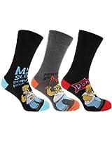 Herren Socken - Verschiedene Simpsons-Designs - Schwarz - 3 Paar