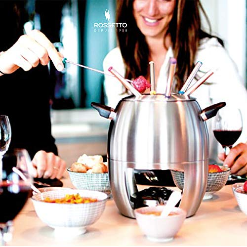 ROSSETTO Set Fondue Acero Inoxidable bourguignonne, China, Bressane, Chocolate, Savoyarde para 6Personas