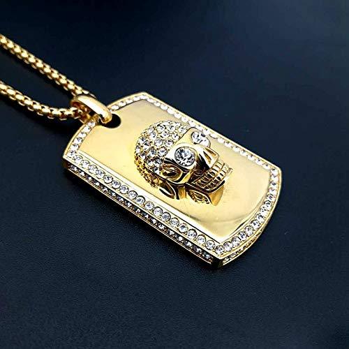 DADATU Halsketten für Herren Hip Hop Rock Voller Strass Bling Ice Out Schädel Anhänger Halskette Edelstahl Gold Platz Hund Tag Für Männer Rapper Jewerly (Hunde Rapper Kostüm)