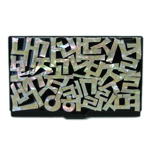 Antique Alive card case Perlmutt Schwarz Metall Edelstahl Gravur Slim Geldbörse Geld Business Credit ID Karte Fall Halter mit mit Korean Buchstabe Design