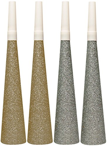 Unbekannt Creative Converting Glitter 4Hörner, Gold/Silber