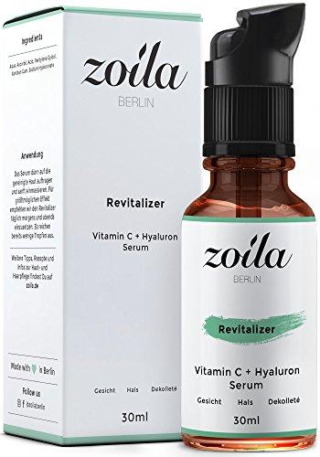 Vitamin C Serum für das Gesicht / HOCHDOSIERT mit Hyaluronsäure / Anti-Aging / Für empfindliche unreine Haut. zoila REVITALIZER - Für...
