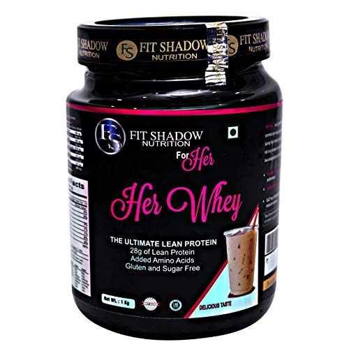 Fit shadow Her 100% Whey Protein Shake, Ideal All Natural Protein For Women With Zero Artificial Flavors, Colors or Sweeteners,Butterscotch, 1kg.