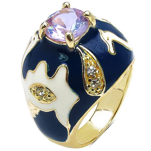 Johareez 9.00 Grams Purple & White Cubic Zirconia Gold Plated Brass Ring with Blue & White Enamel