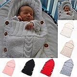 Neugeborenes Babydecke Wrap Swaddle Decke, SOONHUA Baby Kinder Kleinkind Wolle Knit Decke Swaddle Schlafsack Schlaf Sack Stroller Wrap für 0-12 Monate Baby (White) Bild 2