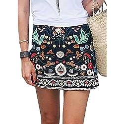 Minetom Mujer Verano Retro Embroidered Falda Cortas Estampado Floral Alta Cintura Falda Casual Skirt A-lined Negro ES 38