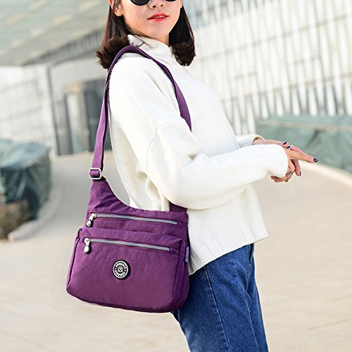 Outreo Kuriertasche Damen Taschen Umhängetasche Mode Schultertasche Leichter Wasserdicht Designer Messenger Bag Kleine Sporttasche für Mädchen Blau 1
