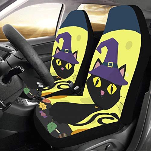 Plsdx Schwarze Katze Hexen für Halloween benutzerdefinierte Universal Fit Auto Drive Autositzbezüge Protector für Frauen Automobil Jeep Truck SUV Fahrzeug Zubehör für Erwachsene Baby (Satz von 2)