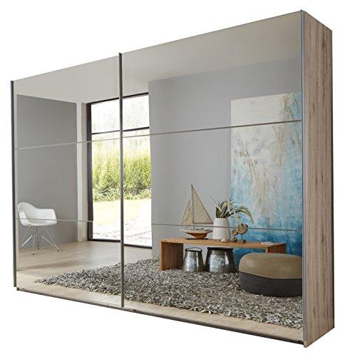 Wimex 974215 Schwebetürenschrank, 225 x 210 x 65 cm, korpus san remo eiche / front spiegel