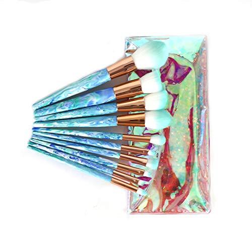 Pennelli Make Up Moremili 10pz Pennelli Trucco,Make Up Brushes Set per Viso,Occhio,Pattern di Inchiostro, Regalo Idea