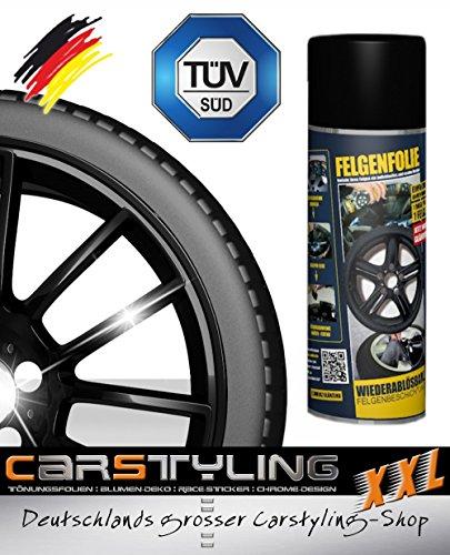 carstyling XXL Felgenfolie Mibenco schwarz glänzend (Sprühdose à 400 ml) .auch für Karosserie! ~ schneller Versand innerhalb 24 Stunden ~ -