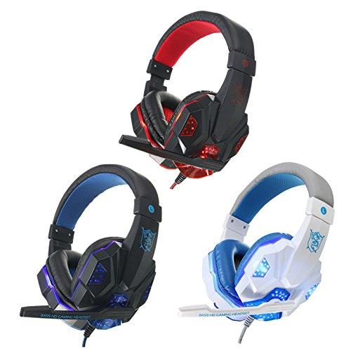 Jaybird Bluetooth-stereo - (Hitommy USB 3,5mm LED Surround Stereo Gaming Headset Headbrand Kopfhörer Mikrofon Schwarz/Rot)