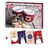 itenga AktionsSet11 1x Roth gefüllter Adventskalender Tee für Zwei mit 24 Teesorten + 4 Weihnachtskarten Klappkarten